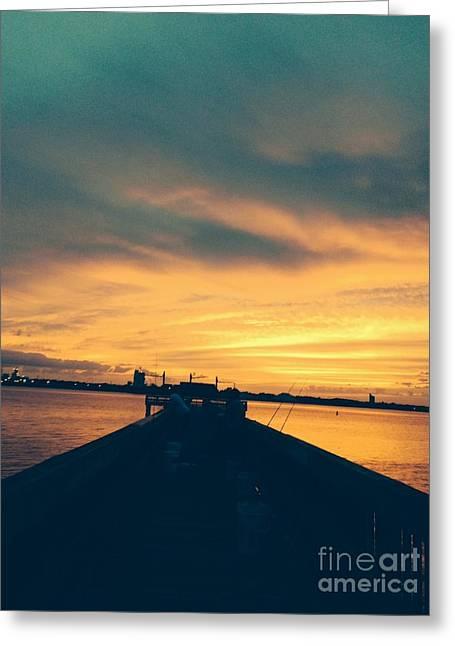 Jacksonville Greeting Cards - Fishing in Golden Light Greeting Card by Mitzisan Art LLC