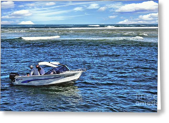 Head In The Water Greeting Cards - Fishing in the Channel Greeting Card by Kaye Menner