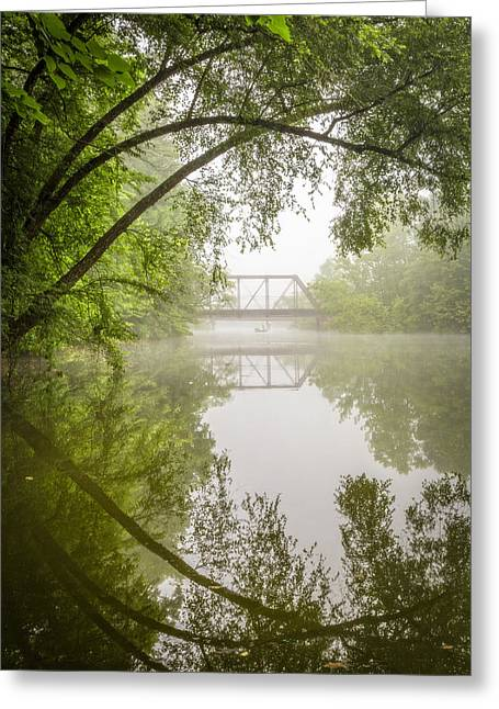Mist On Lake Greeting Cards - Fishing in the Fog Greeting Card by Debra and Dave Vanderlaan