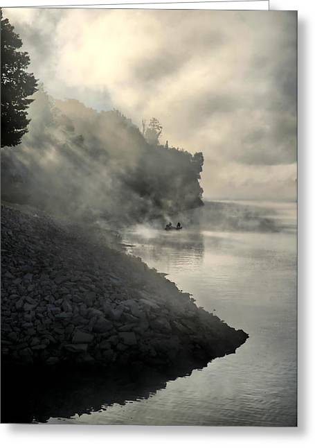 Tn Greeting Cards - Fishing in the Fog Greeting Card by Edward Myers