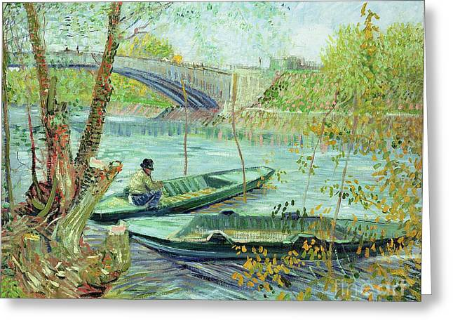 Fishing In The Spring Greeting Card by Vincent Van Gogh