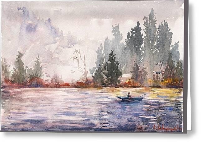 Fishing Greeting Card by Kristina Vardazaryan