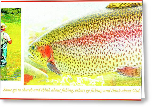 Rainbow Trout Greeting Cards - Fishing Mantra Greeting Card by A Gurmankin