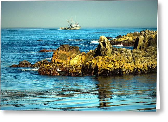 Ocean Photography Greeting Cards - Fishing Monterey Bay CA Greeting Card by Joyce Dickens