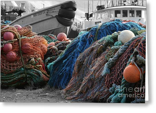 Boats In Harbor Greeting Cards - Fishing Nets Greeting Card by Felikss Veilands