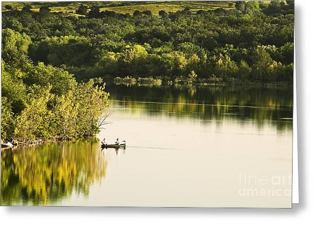 Tamyra Ayles Greeting Cards - Fishing on Mountain Lake Greeting Card by Tamyra Ayles