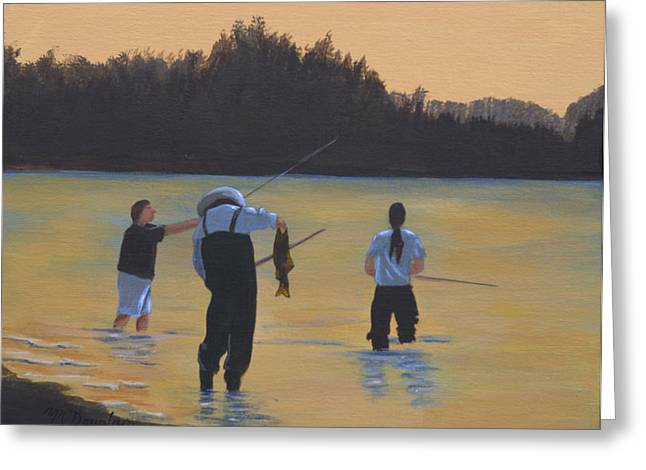 Coho Paintings Greeting Cards - Fishing on the Fraser Greeting Card by Melodie Douglas