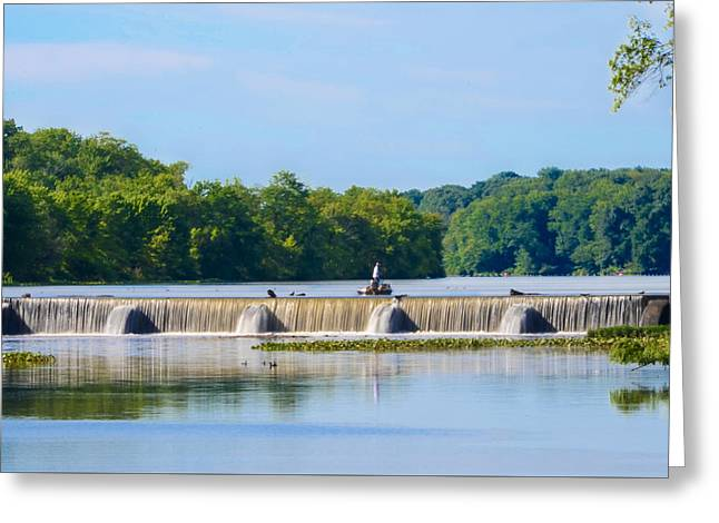 Fishing On The Millstone River - Kingston New Jersey Greeting Card by Bill Cannon