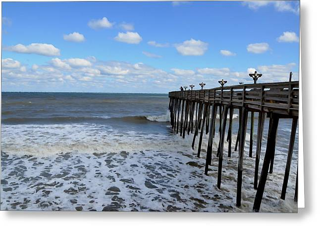 Surf Silhouette Paintings Greeting Cards - Fishing Pier 1 Greeting Card by Lanjee Chee