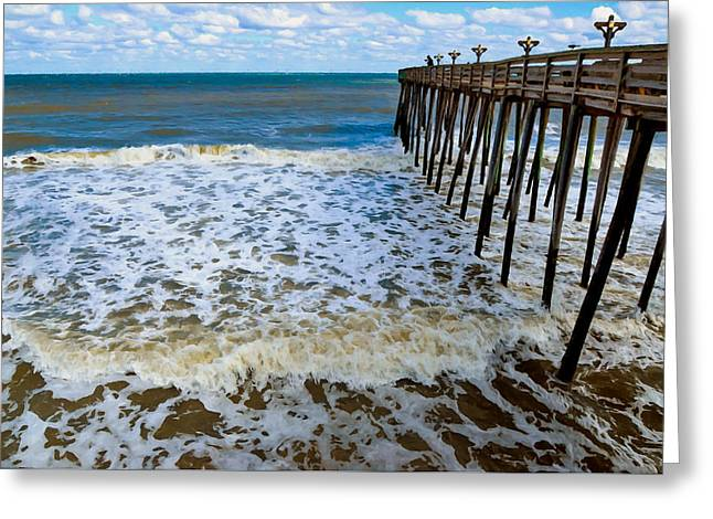 Surf Silhouette Paintings Greeting Cards - Fishing Pier 2 Greeting Card by Lanjee Chee
