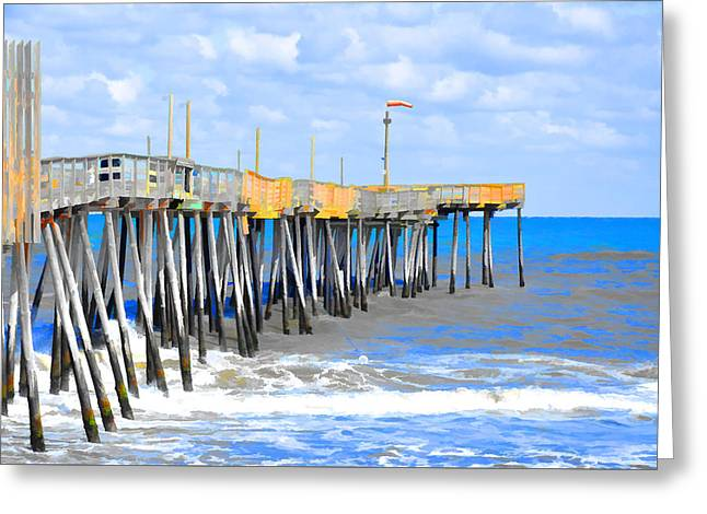 Surf Silhouette Paintings Greeting Cards - Fishing Pier 4 Greeting Card by Lanjee Chee