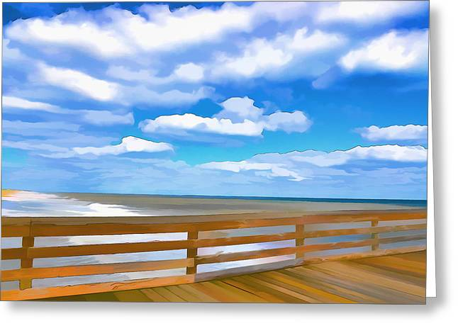 Surf Silhouette Paintings Greeting Cards - Fishing Pier 6 Greeting Card by Lanjee Chee