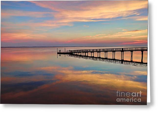 Fishing Pier Duck Obx Greeting Card by Jeff Breiman