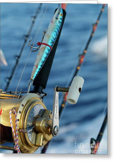 Fishing Rods Onboard A Boat In The Mediterranean Sea Greeting Card by Sami Sarkis