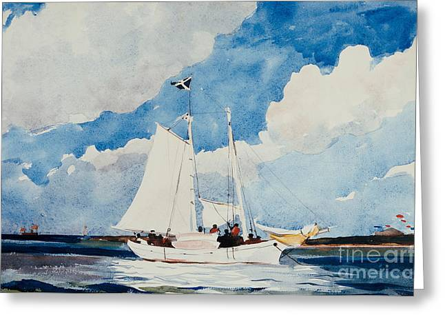Ocean Shore Greeting Cards - Fishing Schooner in Nassau Greeting Card by Winslow Homer