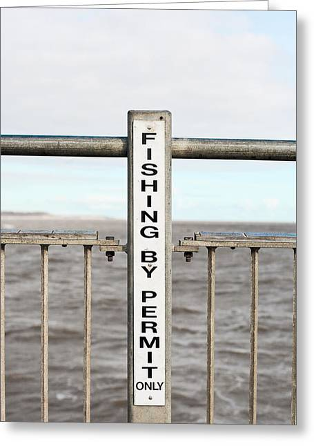 Fishing Sign Greeting Card by Tom Gowanlock