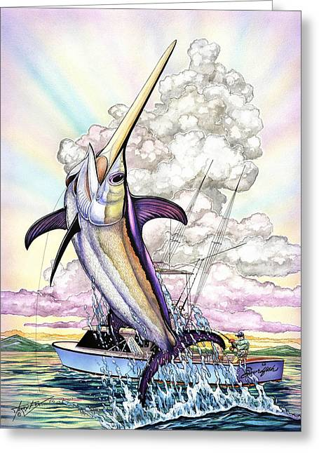 Fishing Swordfish Greeting Card by Terry  Fox