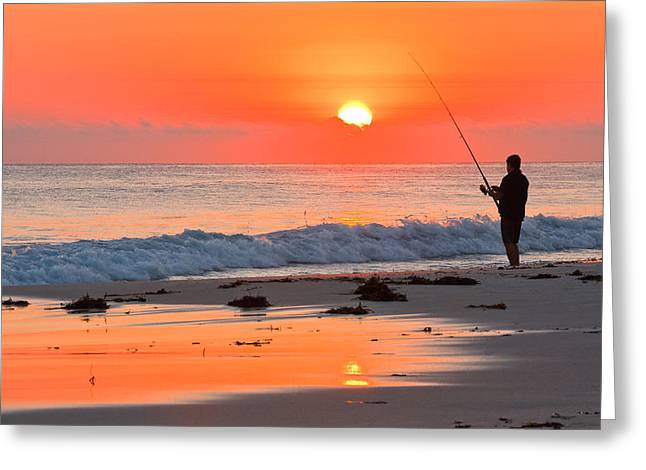 Coloured Greeting Cards - Fishing the Golden Dawn Greeting Card by Michael Hodgkins
