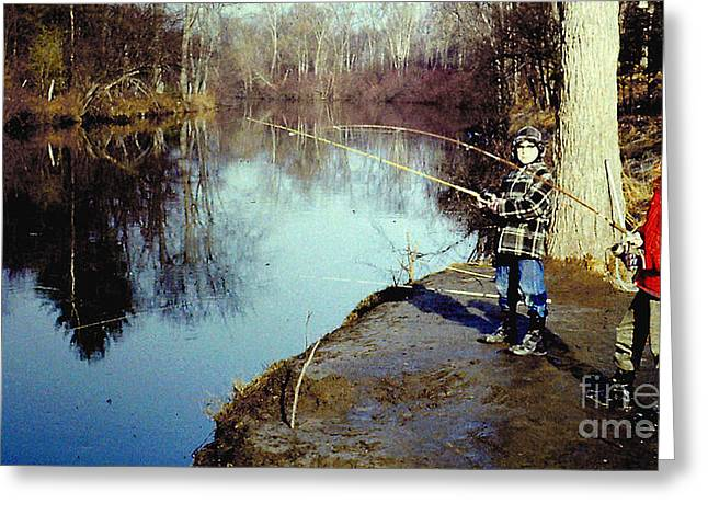 Fishing Creek Greeting Cards - Fishing the Kayaderoseres Creek in Saratoga NY Greeting Card by Merton Allen