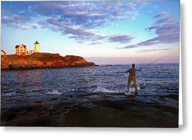 Lighthouse Artwork Greeting Cards - Fishing The Nubble Greeting Card by Skip Willits