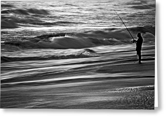 Jacksonville Greeting Cards - Fishing The Surf Greeting Card by William Jones