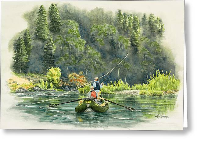 Flyfish Greeting Cards - Fishing the Trinity River Greeting Card by Link Jackson