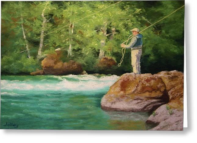 Oregon Pastels Greeting Cards - Fishing the Umpqua Greeting Card by Nancy Jolley