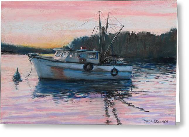 Fishing Boats Pastels Greeting Cards - Fishing Trawler at Rest Greeting Card by Jack Skinner