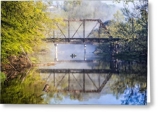 Dog In Lake Greeting Cards - Fishing Under the Trestle Greeting Card by Debra and Dave Vanderlaan