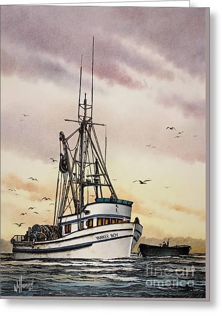 Yankees Art Prints Greeting Cards - Fishing Vessel Yankee Boy Greeting Card by James Williamson