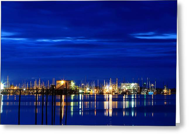 Fishing Boat Reflection Greeting Cards - Fishing Village Blue Greeting Card by Robert Bynum