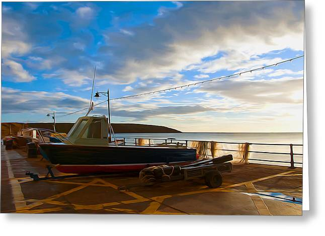 Fishing Village Filey Greeting Card by Svetlana Sewell