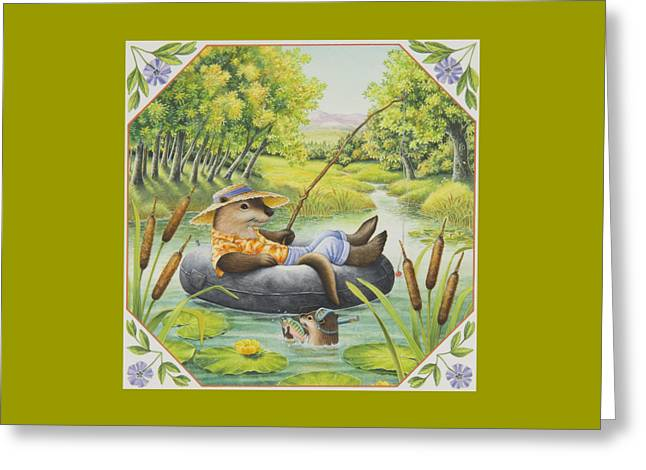 Fishing With Dad Greeting Card by Lynn Bywaters