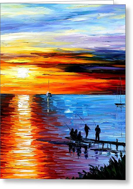 Popular Art Greeting Cards - Fishing With Friends - PALETTE KNIFE Oil Painting On Canvas By Leonid Afremov Greeting Card by Leonid Afremov