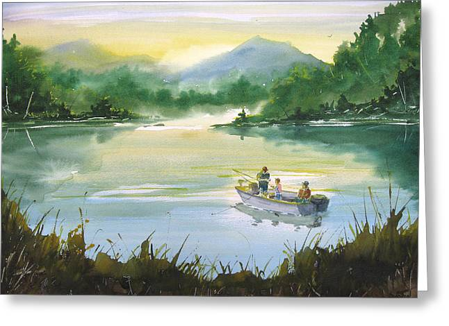 Sean Seal Greeting Cards - Fishing With Grandpa Greeting Card by Sean Seal