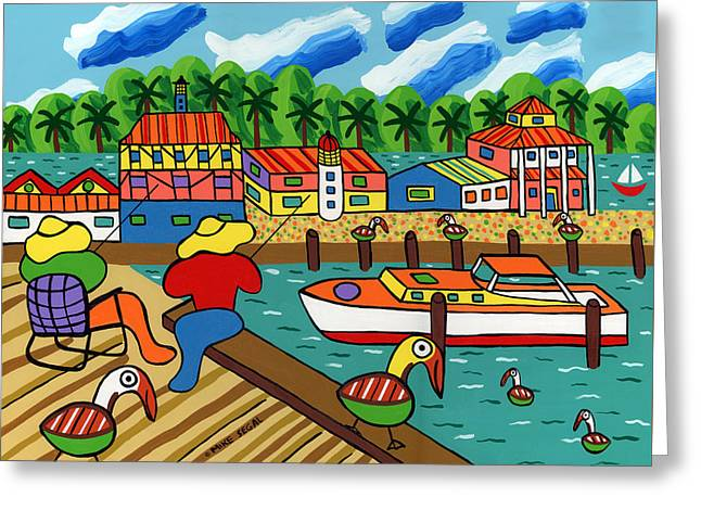 Docked Sailboats Greeting Cards - Fishing With Mom at Cedar Key Greeting Card by Mike Segal