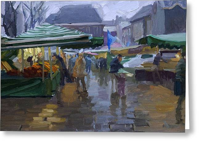 Impressionistic Market Greeting Cards - Fishmarket in the rain Greeting Card by Joost  Doornik