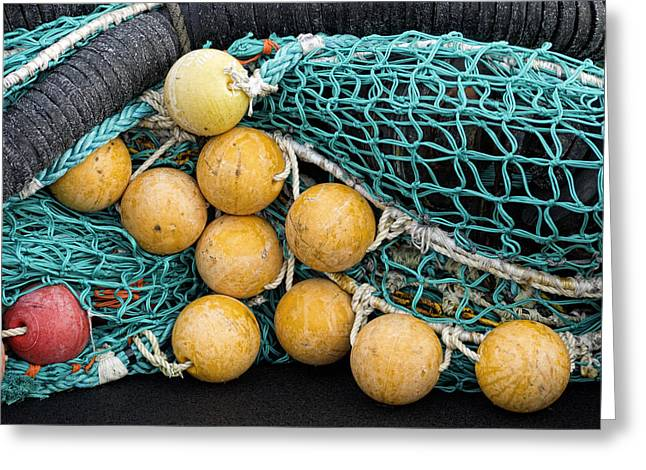 Fishnet Floats Greeting Card by Carol Leigh