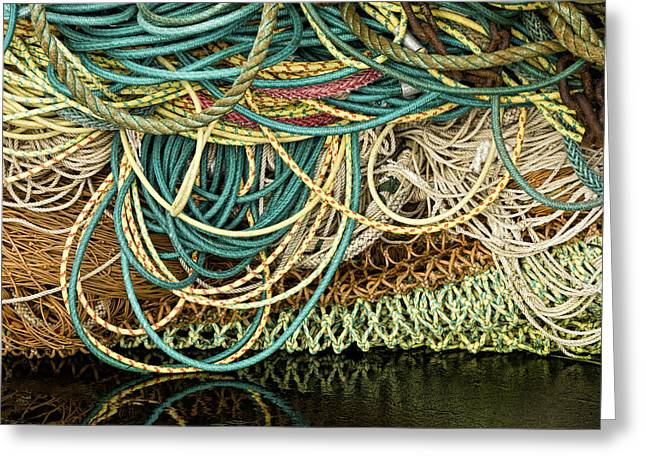 Fishnets And Ropes Greeting Card by Carol Leigh