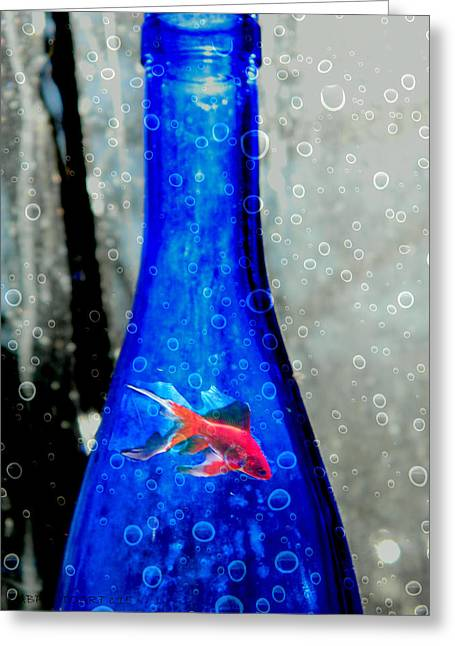 Glass Bottle Greeting Cards - Fishy Bottle Greeting Card by Kathy Barney