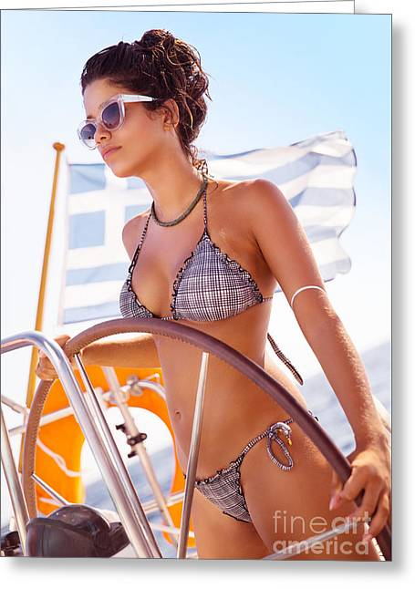 Boat Cruise Greeting Cards - Fit female behind wheel of sailboat Greeting Card by Anna Omelchenko