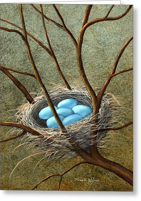 Frank Wilson Greeting Cards - Five Blue Eggs Greeting Card by Frank Wilson