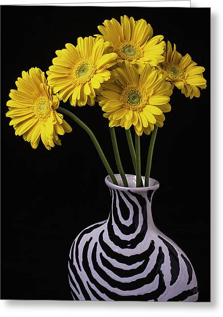 Five Greeting Cards - Five Daisies In Striped Vase Greeting Card by Garry Gay