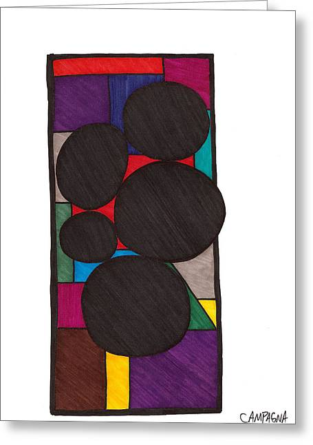 Fine Line Drawings Greeting Cards - Five Dark Discs Greeting Card by Teddy Campagna