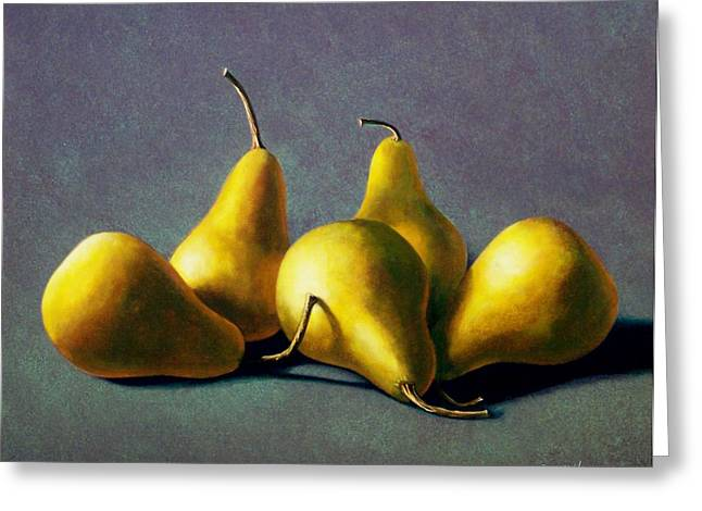 Fruit Food Greeting Cards - Five Golden pears Greeting Card by Frank Wilson
