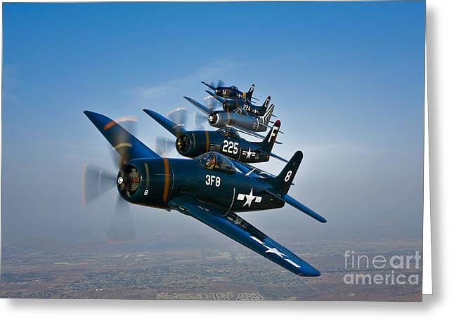 Bearcats Greeting Cards - Five Grumman F8f Bearcats In Formation Greeting Card by Scott Germain
