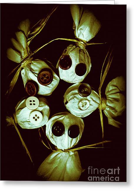Five Halloween Dolls With Button Eyes Greeting Card by Jorgo Photography - Wall Art Gallery