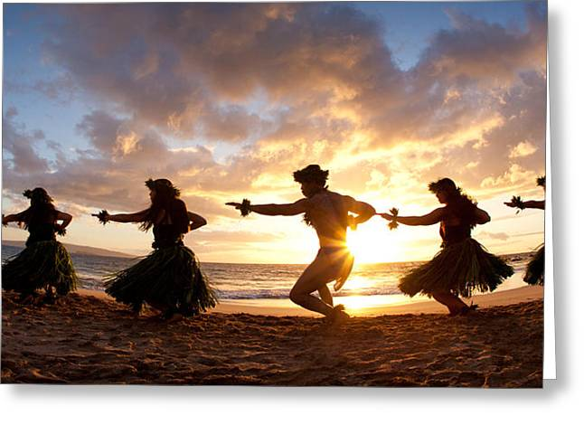 Recently Sold -  - Full Skirt Greeting Cards - Five Hula Dancers On The Beach Greeting Card by David Olsen