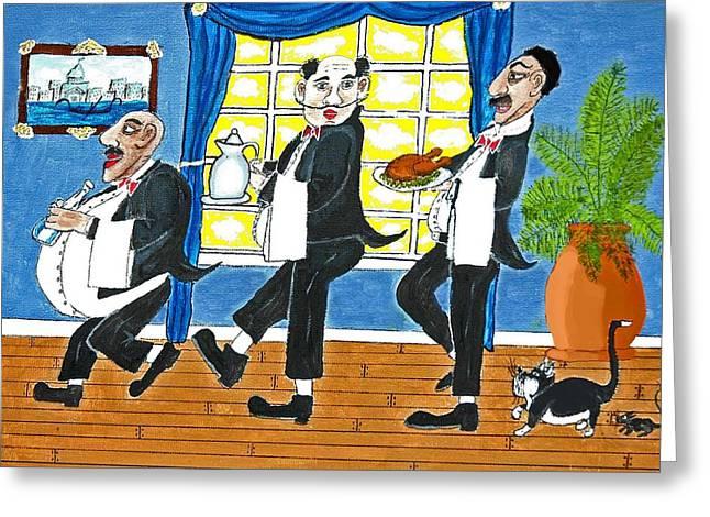 Five Italian Waiters Greeting Card by Gordon Wendling