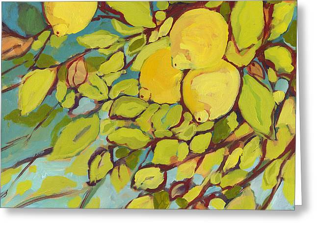Fruit Greeting Cards - Five Lemons Greeting Card by Jennifer Lommers